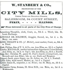 "This detail from a page in the 1861 Root's City Directory for Pekin lists a ""John Little"" who had a brush with death near Glasford in 1863."