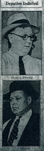 These photographs of Tazewell County Sheriff's Deputies Ernest Fleming and Charles Skinner were published in the 17 Sept. 1932 Peoria Journal following their indictment on murder charges in the beating death of Tazewell County Jail inmate Martin Virant.