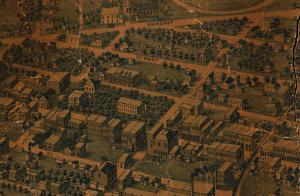 "The old Tazewell County Courthouse Block is shown in this detail from an ""Aerial View of Pekin,"" a unique map that was printed in 1877. The old Courthouse, which stood from 1850 to 1914, is near the middle of this image. To its left are two buildings -- at the corner of Fourth and Elizabeth was a building that held county offices for elected officials such as county clerk, recorder of deeds, etc.  Just below that, at the corner of Fourth and Court, is the old Tazewell County Jail and Sheriff's Residence (which was replaced in 1891 -- today it's the location of the McKenzie Building, which was built as a new jail in the 1960s).  Since this map was drawn in 1877, it's only eight years after Bill Berry's lynching in 1869, which took place outside the jail at the corner of Court and Fourth.  Note that there are four trees represented in front of the jail -- there's no telling which of them was Berry's gallows tree."